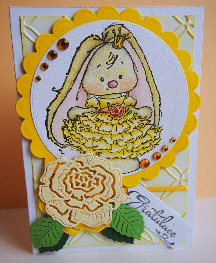#small #cute #rabbit #princess #rose #carmaking #papercard #paper #gratulation #handmade #mywork