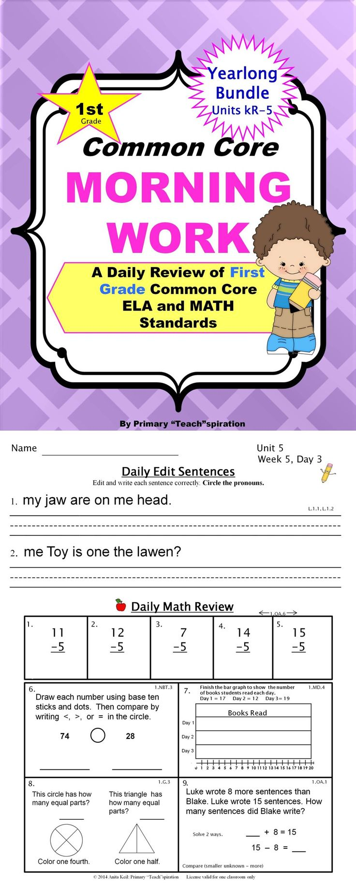 Wow! Check out this $-Saving Yearlong Bundle! Includes all six 1st Grade Common Core Morning Work Units! A comprehensive daily spiral review. Your kids won't forget what they learn! Every problem is coded with its ELA & Math CCSS. Complete answer keys! $