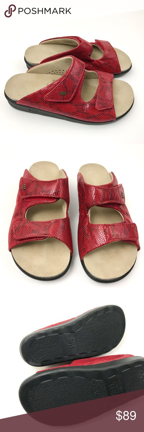 SAS Comfort Red Leather Animal Print Sandals SAS Comfort Sandals  Red Leather Animal Print Velcro Strap Women's Shoes Size 7 M  Pre Owned Sandals, in Excellent Shape No Holes, Stains Fading or Foot Imprints Original Box is Not Included     Item comes from a pet free/smoke free clean environment please contact me for any additional questions SAS Comfort Shoes Sandals