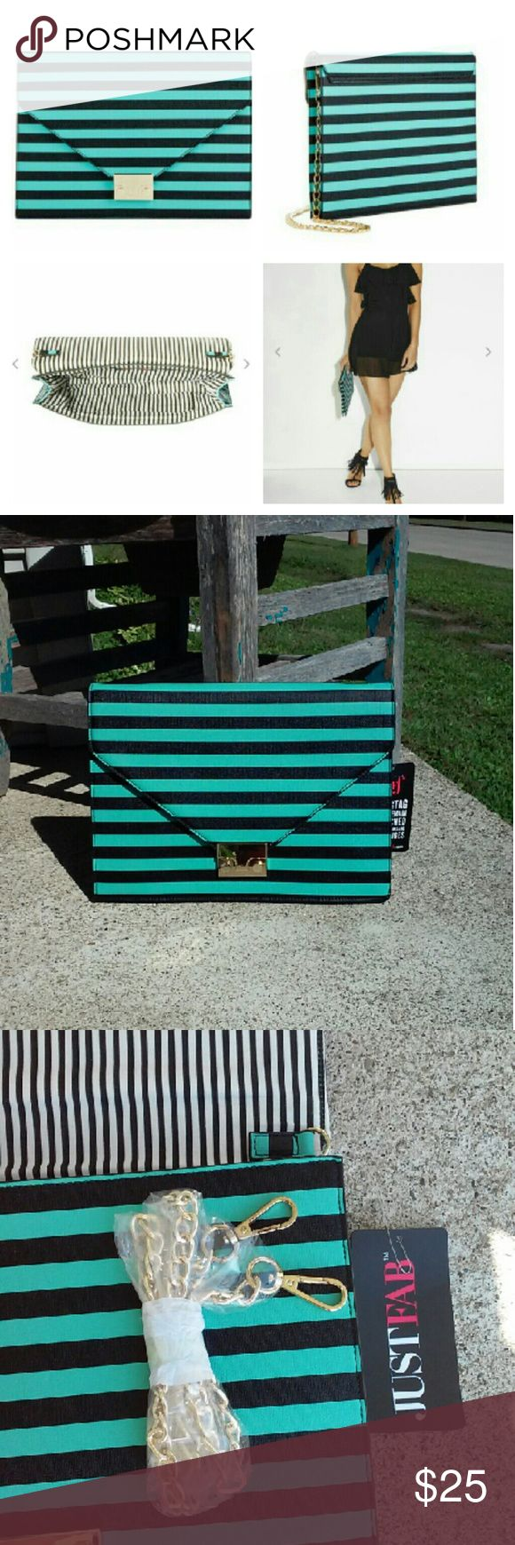 "JustFab hamiltonn nautical clutch. Justfab green and black striped hamiltonn nautical clutch. Front metal hardware closure and a chic shoulder strap.  Approximately 12""x9"" JustFab Bags Clutches & Wristlets"
