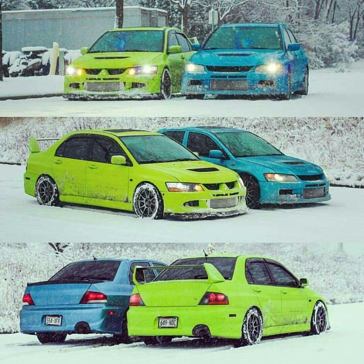 Mitsubishi EVO's.. Amazing Colors!!