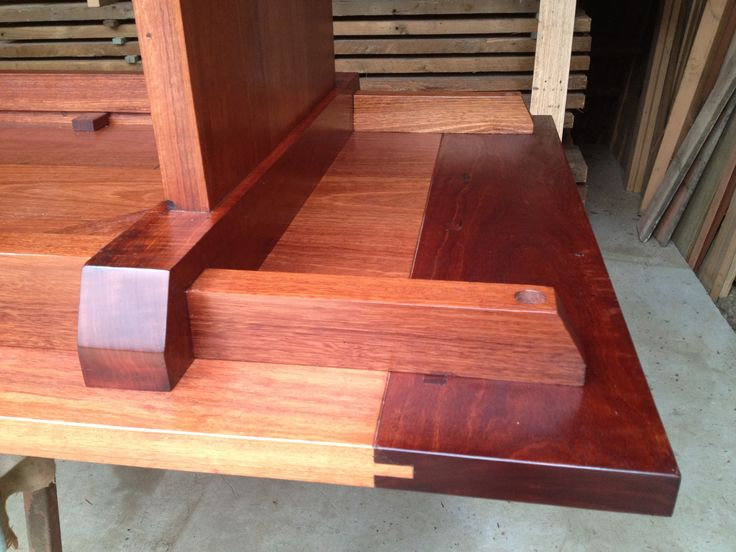 From the Workshop - Kenney Pierce Timber - Joinery details Recycled Sydney Blue Gum Table. Made by Mark Kenney