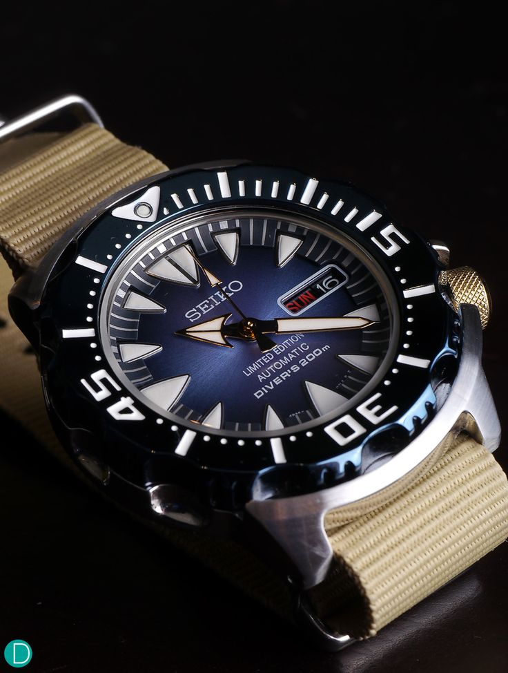 "Seiko ""Blue Monster"" on a NATO strap."