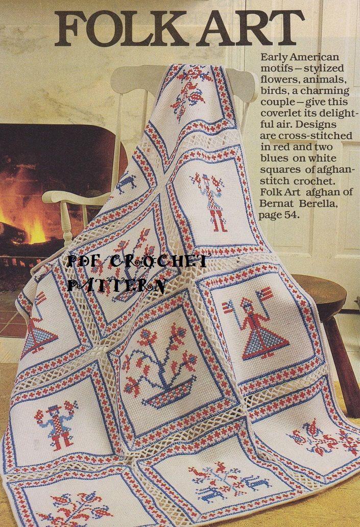 🌹👧🌹 Quadro Arte Crochê Folclórico Clássico -  /   🌹👧🌹 Vintage Crocheted Folk Art Box -