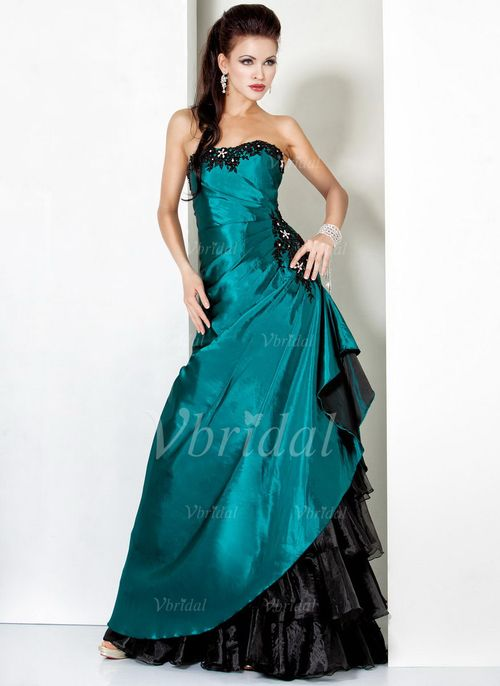 Evening Dresses - $162.99 - A-Line/Princess Strapless Floor-Length Taffeta Organza Evening Dress With Ruffle Beading Appliques Lace Cascading Ruffles (0175056338)