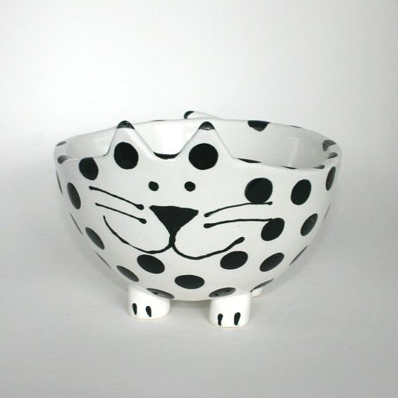 Large Polka Dot Kitty Bowl by LAFpottery on Etsy, $45.00