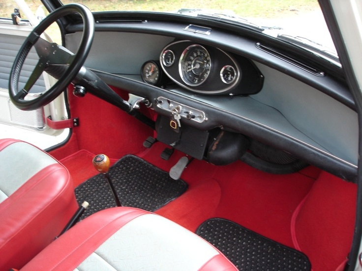 Classic Mini, Interior, Red And Grey.