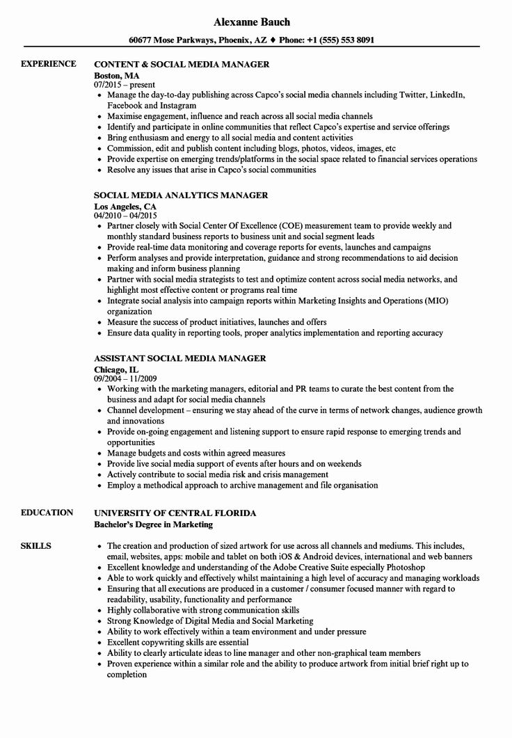 40 social Media Manager Resumes in 2020 (With images