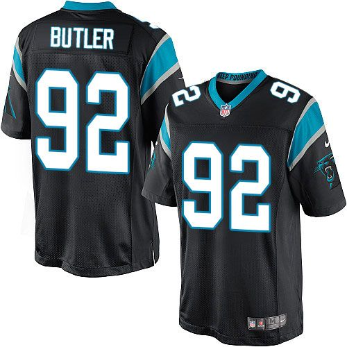 Men's Nike Carolina Panthers #92 Vernon Butler Limited Black Team Color NFL Jersey Giants Michael Strahan jersey