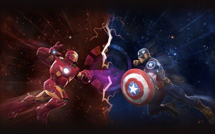 Captain America vs Iron Man, superheroes, fighting, Marvel Contest Of Champions, Captain America, Iron Man