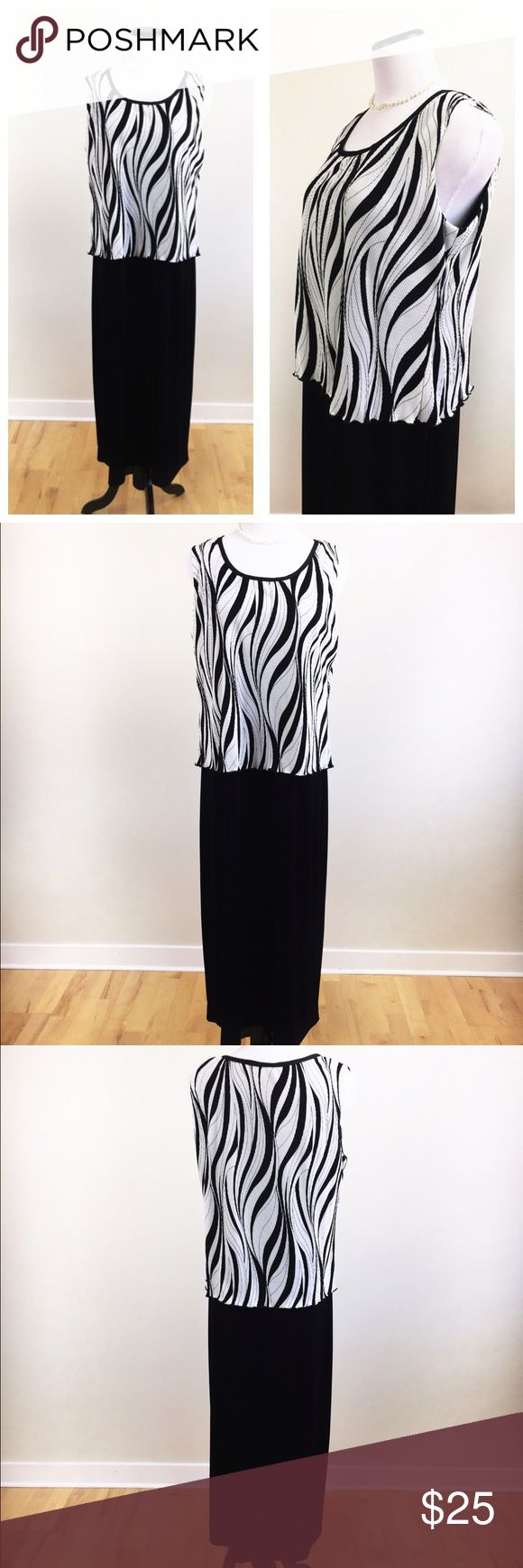 R & M RICHARDS BLACK AND WHITE FORMAL DRESS SZ16 Beautiful and elegant R & M Richards black and white maxi formal dress in size 16. Flows and gorgeous, ideal for a special event or as a wedding guest dress. This is a pre loved item, with the look and feel of pre owned, has no stains or holes and still preserves its beauty. Love it? 🌺 make an offer! Questions? Ask me! ❤️🌹 R & M Richards Dresses