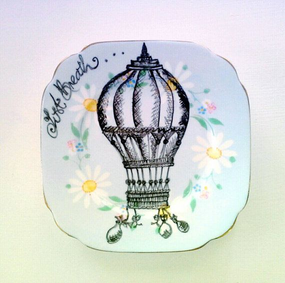 Illustrated Vintage Plate, Upcycled Bone China, Hot Air Balloon - Hand Drawn by Yvonne Mukauskas