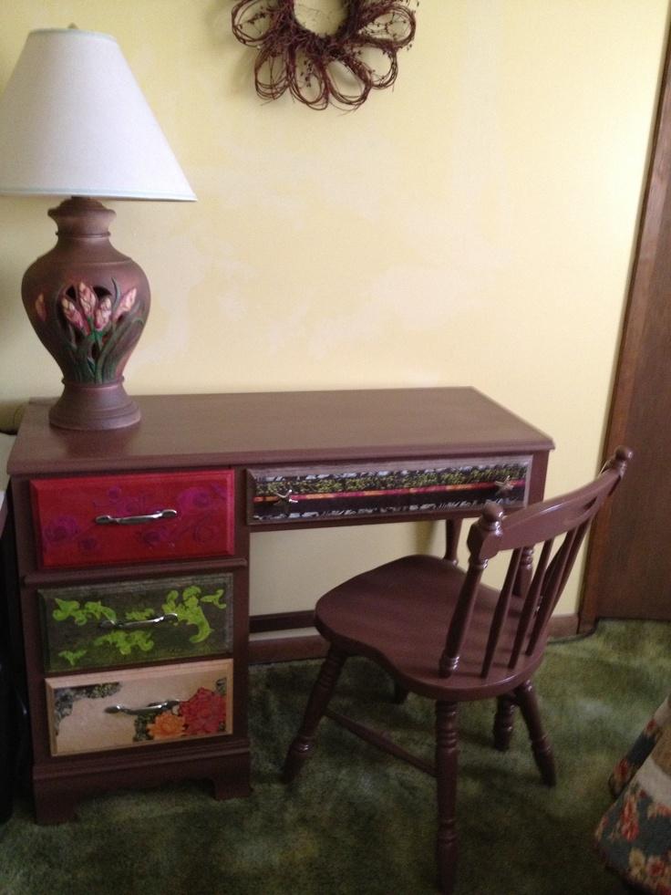 Old desk redo......boho decopauge