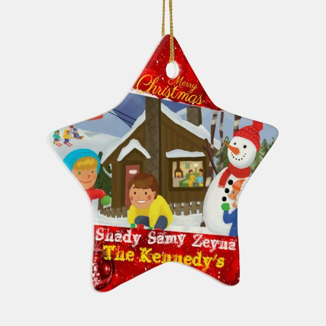 Personalizable Snowman Family Holiday Christmas Ceramic Ornament Zazzle Com Christmas Holidays Family Holiday Kids Playing In Snow
