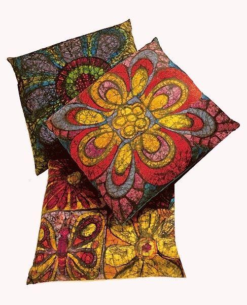 Colorful Batik Pillows via taylortinkerings