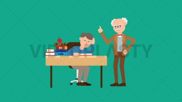 An older professor with gray hair wearing a brown suit is scolding a student right next to him sitting at a desk with notebook in front of him Two versions are included: normal (with a start animation) and loopable. The normal version can be extended with the loopable version Clip Length:10 seconds Loopable: Yes Alpha Channel: Yes Resolution:FullHD Format: Quicktime MOV