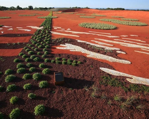 Painting with sand, soil and plants at The Red Sand Garden in the Royal Botanic Gardens, Cranbourne, near Melbourne, Australia