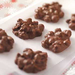 Toffee Peanut Clusters Recipe - just want to say that for an unhealthy candy dessert these little treasures are about the easiest, tastes treats I've ever made - Lyndi