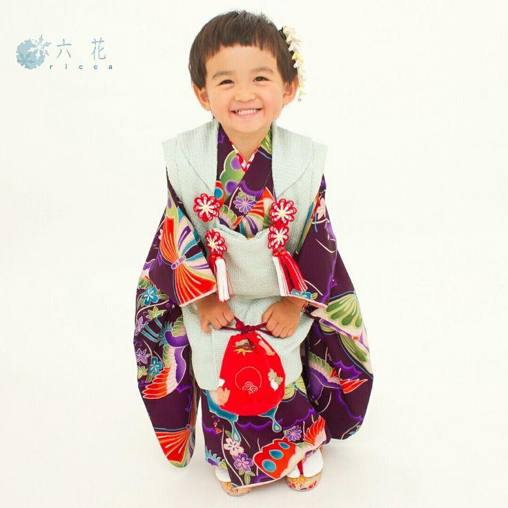 七五三 三歳女の子祝着 着物レンタル・着付・ヘアメイク・撮影 アンティーク着物紫色アゲハ蝶&鳩×水色絞り被布