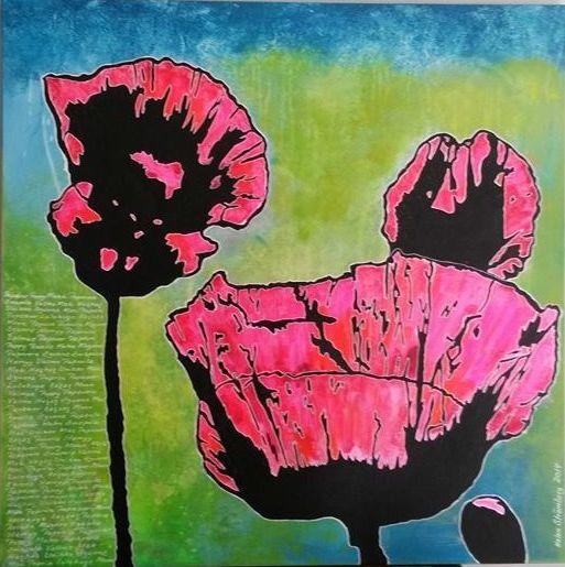 Poppies . Popart akryl på lærred 80x80