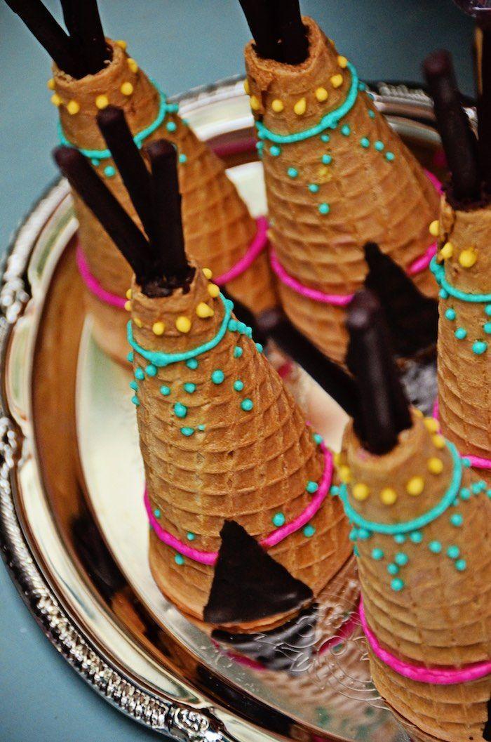 Teepee sugar cones from a Boho Tribal Birthday Party on Kara's Party Ideas | KarasPartyIdeas.com (6)