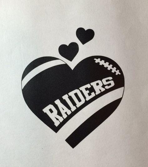 Oakland Raiders Football Heart vinyl car by GetBlastedDesigns