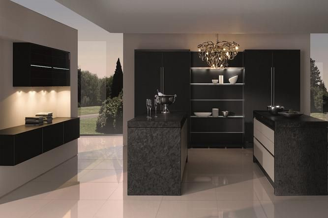 Matt lacquer finish black kitchen
