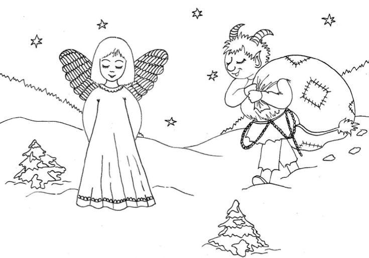 Vánoční omalovánky s Mikulášem, čertíkem a andílkem | Vánoce