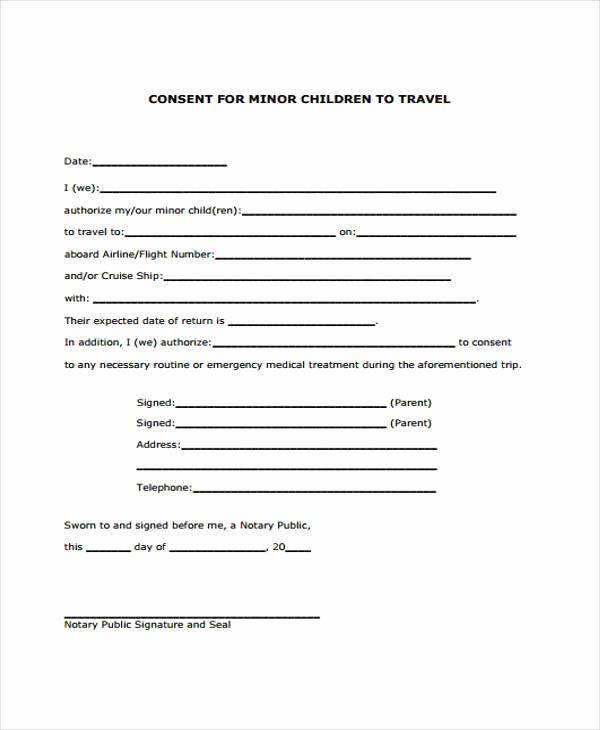 Parental Consent Form Template Elegant Parental Consent To Travel Form Template Free Child Travel Child Travel Consent Form Travel Consent Form Consent Forms