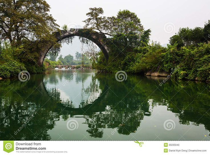Circle bridge with reflection, trees