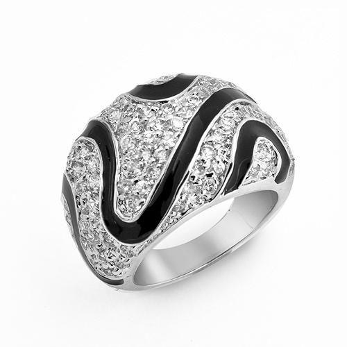 Black Enamel Cubic Zirconia Zebra Design Dome Cocktail Ring