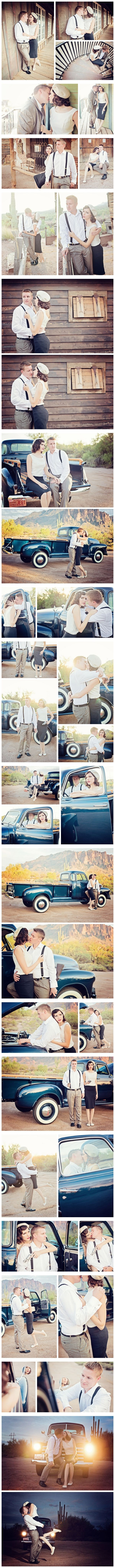Bonnie and Clyde Themed Engagement Shoot
