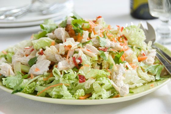 Delicious salad with chicken poached in coconut milk, fragrant spices and herbs.