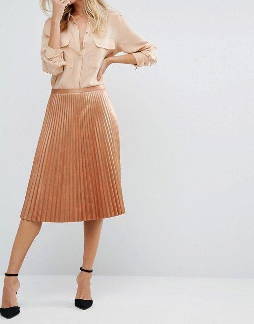 BOSS Orange   BOSS Orange By Hugo Boss Bronze Pleated Midi Skirt