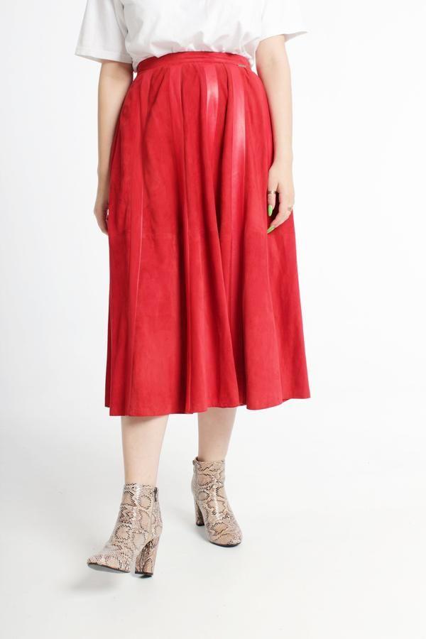 f1bc0786f0 Vintage 80s Geiger Red Suede Skirt Size S - Trendlistr | Vintage ...