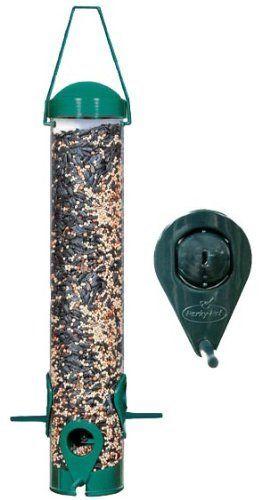 Perky Pet Sierra Wild Bird Finch Feeder Seeds Port Plastic Cap Green 1.8 lbs