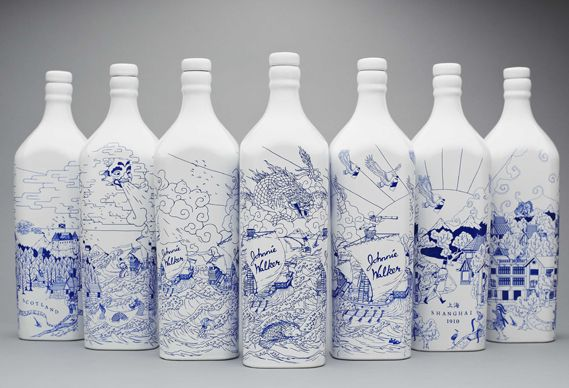 Ceramic Johhny Walker whiskey bottles designed by creative agency LOVE to commemorate the opening of Johnny Walker's new concept store in Shanghai. The bottles feature illustrations by Chris Martin...