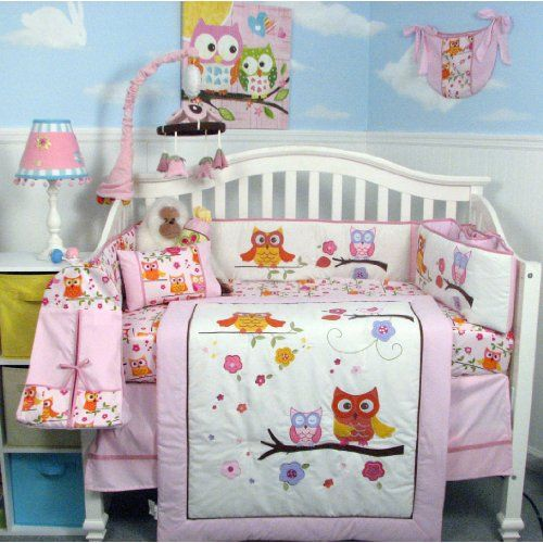 SoHo Pink Dancing Owl Baby Crib Nursery Bedding Set with Diaper bag 14 pcs set.  Owl Baby Bedding Sets.  Owl Nursery Theme.