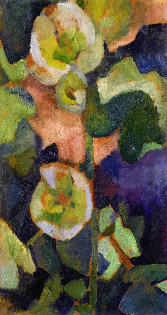 Painting by Robert Delaunay, 1909, White Hollyhock, oil on cardboard, Private collection.