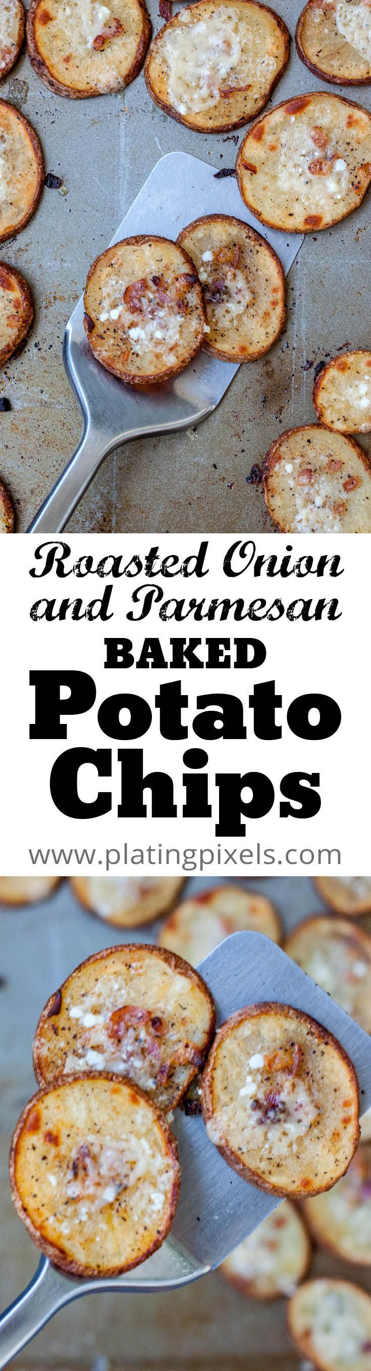 Crisp Roasted Onion Parmesan Baked Potato Chips by Plating Pixels. Red onions and spices with creamy savory Parmesan cheese in healthy baked potatoes. Gluten-free recipe. - www.platingpixels.com