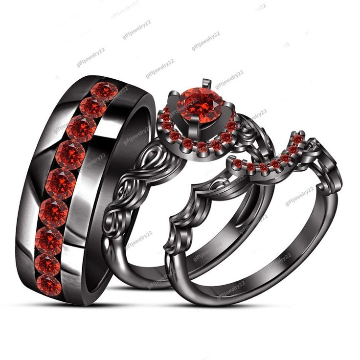 1.20 CT. His & Her Men's & Women's Trio Ring Set 14k Black Gold Over 925 Silver