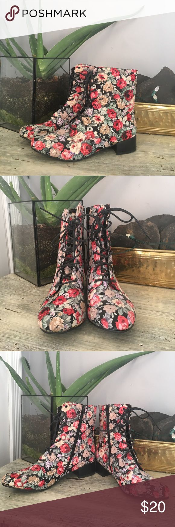 """Adorable floral zip up boots size 11 Vintage floral print boots that lace and zip. 1.5"""" heel. So cute! Never worn! bumper Shoes Heeled Boots"""