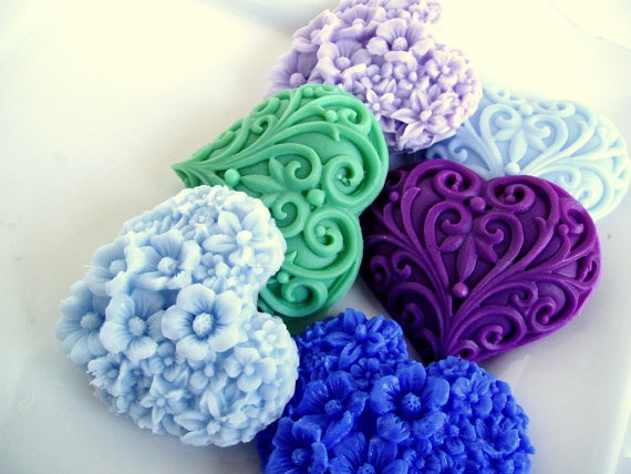 heart flower hand soap. i can make the molds