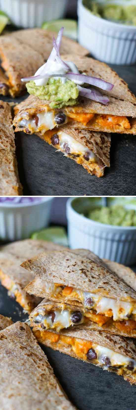 Black Bean and Sweet Potato Quesadillas - black bean, cheese, healthy, paprika, potato, recipes, tortillas