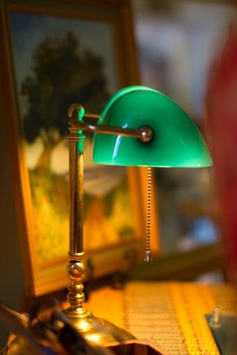 adore emerald bankers lamps. my mom gave me hers that i <3....perfect in my office.