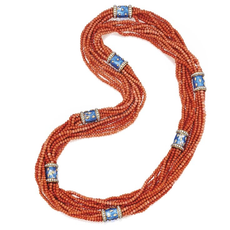 18 KARAT GOLD, CORAL BEAD, ENAMEL AND DIAMOND NECKLACE, SCHLUMBERGER, PARIS