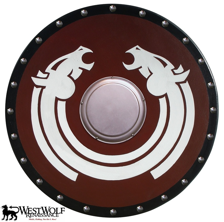 Round VIKING HORSE LORD SHIELD -- sca/larp/norse/celtic/medieval/wooden/armor | eBay