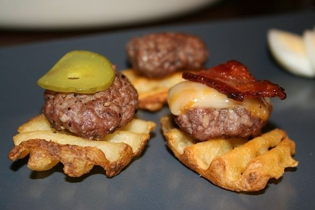 Serve them on waffle fries.    30 Amazing Sliders For Your Super Bowl Party