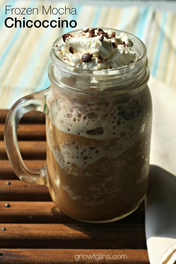 Frozen Mocha Chicoccino | Made with a brew of roasted chicory root, ice, raw milk or your favorite dairy substitute, roasted cacao powder, and a bit of rapadura sugar, then topped with a spoonful of whipped cream and some cacao nibs, this cold drink makes a great summer afternoon treat! | GNOWFGLINS.com