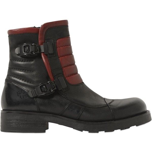 Oxs Men Biker Leather Boots (€230) ❤ liked on Polyvore featuring men's fashion, men's shoes, men's boots, mens leather boots, mens mountain bike shoes, mens biker boots, mens leather biker boots and mens shoes
